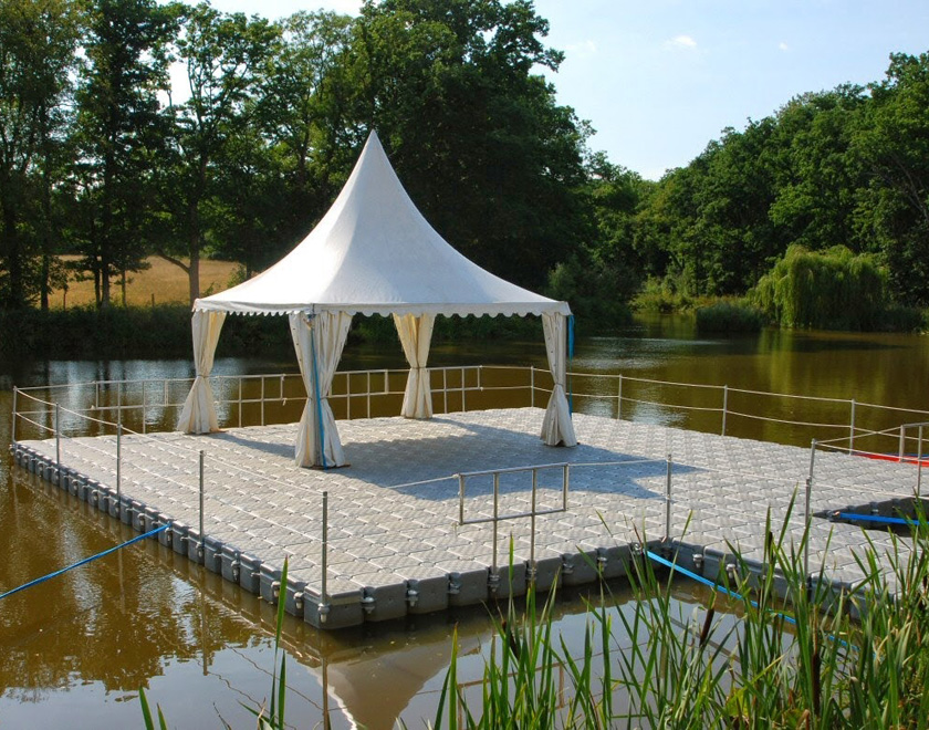 Band stand on raft